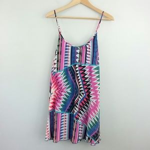 Express Bold Multicolored Trapeze Dress